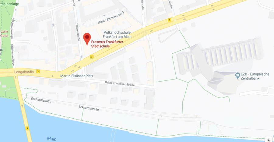 Standort Map ~ Erasmus Gymnasium Frankfurt ~ Trilinguale weiterführende Privatschule
